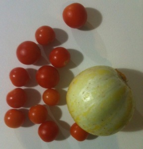 lemon cucumber and cherry tomatoes